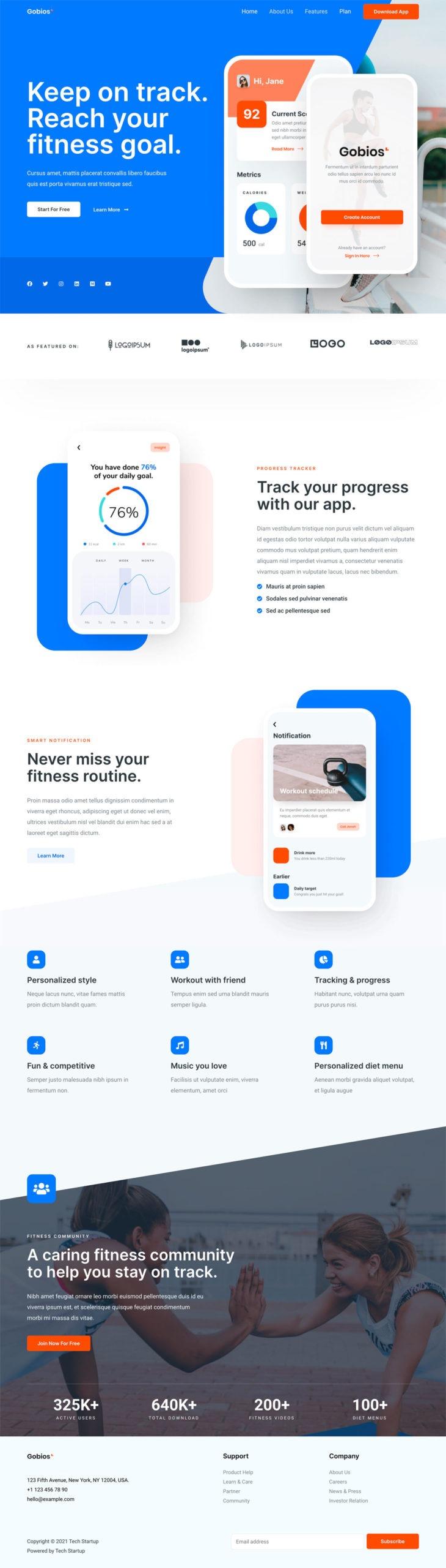 tech-startup website demo screenshot