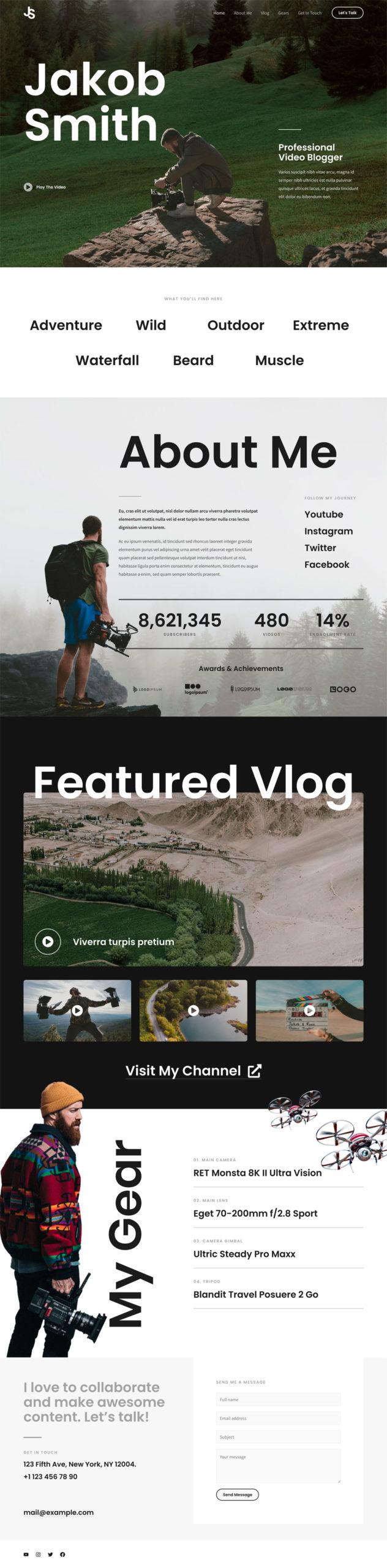 vlogger website demo screenshot
